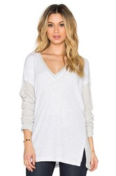 Heather V Neck Sweater Gray
