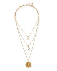 Sequin Triple Layer Sun And Moon Necklace Gold