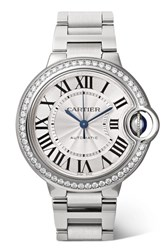 Cartier Ballon Bleu De Automatic 36Mm Stainless Steel And Diamond Watch Silver