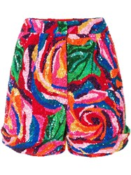 Manish Arora Rose Pattern Sequinned Shorts Multicolour