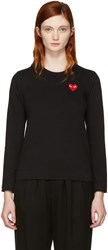 Comme Des Garcons Play Black Long Sleeve Heart Patch T Shirt