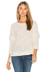 Maven West Drop Shoulder Fringe Sweater Beige