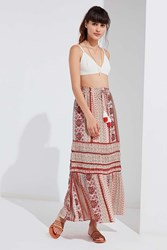 Urban Outfitters Uo Esme Tassel Maxi Skirt Red Multi