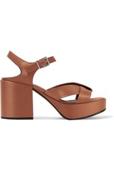 Jil Sander Satin Platform Sandals Copper