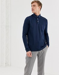 Selected Homme Long Sleeve Polo Shirt With Chest Pocket Navy