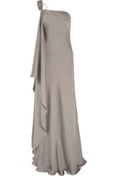 Amanda Wakeley One Shoulder Draped Silk Gown Nude