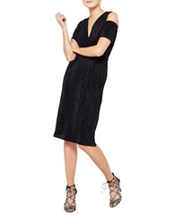 Miss Selfridge Plisse Cold Shoulder Belted Dress Black