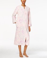 Miss Elaine Plush Zip Front Long Robe Lilac Pink