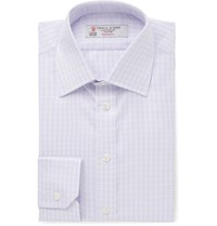 Turnbull And Asser Purple Slim Fit Checked Cotton Twill Shirt Purple