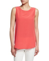 Peserico Sleeveless Silk Shell Coral Women's