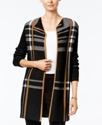 Charter Club Petite Plaid Open Front Cardigan Only At Macy's Salty Nut Combo