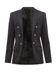 Balmain Open Front Double Breasted Cotton Blend Blazer Black