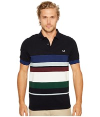Fred Perry Multi Stripe Pique Shirt Navy Men's Clothing