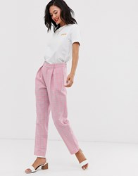 Daisy Street High Waist Tapered Trousers In Check Pink