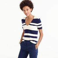 J.Crew Wool Striped Short Sleeve V Neck Sweater