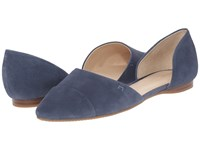 Tommy Hilfiger Naree3 Dark Mystere Blue Suede Women's Flat Shoes Gray