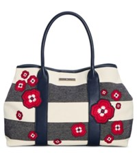 Tommy Hilfiger Aurora Embellished Woven Rugby Tote Navy Natural
