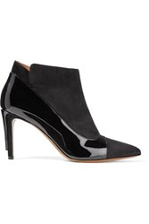 Maison Martin Margiela Patent Leather Trimmed Suede Ankle Boots Black