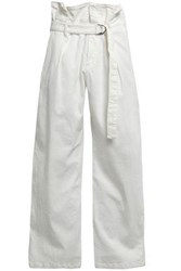 Brunello Cucinelli Woman Belted High Rise Wide Leg Jeans White
