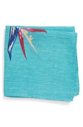 Bonobos Birds Of Paradise Floral Linen Pocket Square Pappagallo Teal