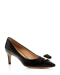 Salvatore Ferragamo Emy Patent Leatner Kitten Heel Pumps Black Silver