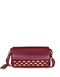 Badgley Mischka Carol Studded Leather Crossbody Bag Wine