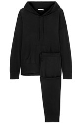 Skin Malika Wool Blend Sweatshirt And Track Pants Set Black