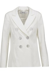 Derek Lam 10 Crosby By Double Breasted Stretch Cotton Twill Jacket Off White