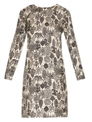 La Doublej Editions Tree Print Silk Long Sleeved Dress