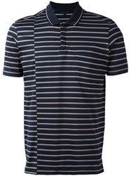 Lanvin Displace Stripe Print Polo Shirt Blue