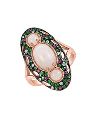 Marco Moore Opal Multi Stone Semi Precious Diamond And 14K Rose Gold Ring