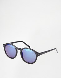A. J. Morgan Aj Morgan Round Sunglasses In Black With Flash Lenses Black