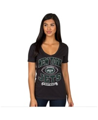 Authentic Nfl Apparel Women's New York Jets Football Logo T Shirt Black