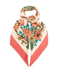 Gucci Floral Print And Jacquard Silk Scarf Pink