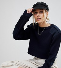 Reclaimed Vintage Revived Cropped Military Sweater Navy