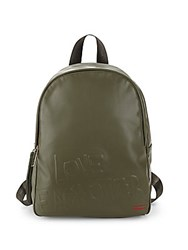 Peace Love World Embossed Backpack Army Green