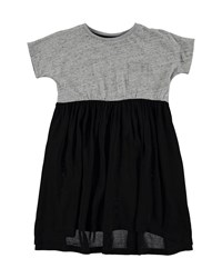 Molo Short Sleeve Jersey And Voile Colorblock Dress Gray Black