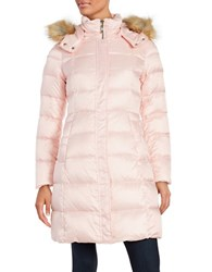 Kate Spade Faux Fur Trimmed Down Puffer Coat Pastry Pink