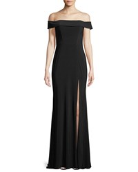 Faviana Jersey Off The Shoulder Gown W Slit Black
