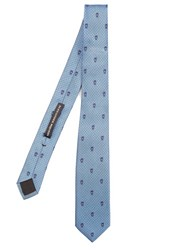Alexander Mcqueen Skull And Pin Dot Jacquard Silk Tie Blue Multi