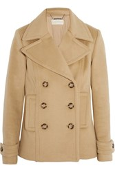 Michael Michael Kors Double Breasted Wool Blend Peacoat Camel