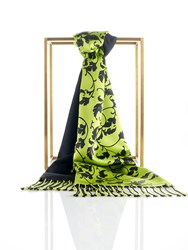 Shanghai Tang Silk Pashmina Scarf With Leaves Pattern Lime