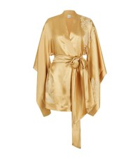Carine Gilson Short Silk Kimono Robe Female Gold