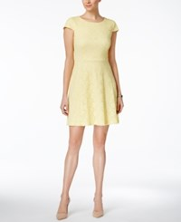 Connected Cap Sleeve Lace Fit And Flare Dress Yellow