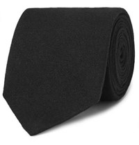 Dunhill 8Cm Cashmere And Mulberry Silk Blend Twill Tie Black