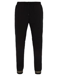 Fendi Ff Taped Cotton Blend Jersey Track Pants Black Multi