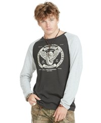 Denim And Supply Ralph Lauren Cotton Graphic Baseball Tee Black Granite Heather