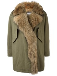 Forte Couture Long Trim Detail Coat Green