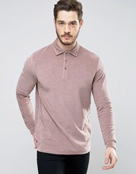 Asos Longline Long Sleeve Polo Shirt In Towelling Fabric Brown