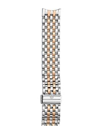 Michele Sport Sail 18 Two Tone Rose Gold Watch Bracelet 18Mm Silver